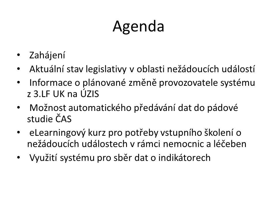 Agenda Zahájení. Aktuální stav legislativy v oblasti nežádoucích událostí. Informace o plánované změně provozovatele systému z 3.LF UK na ÚZIS.