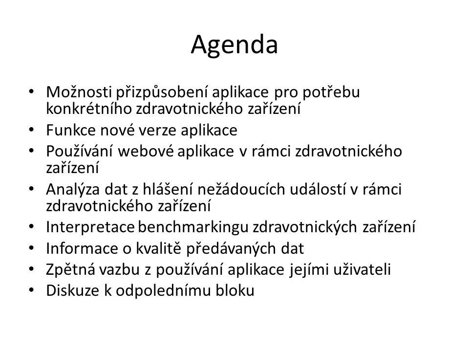Agenda Možnosti přizpůsobení aplikace pro potřebu konkrétního zdravotnického zařízení. Funkce nové verze aplikace.