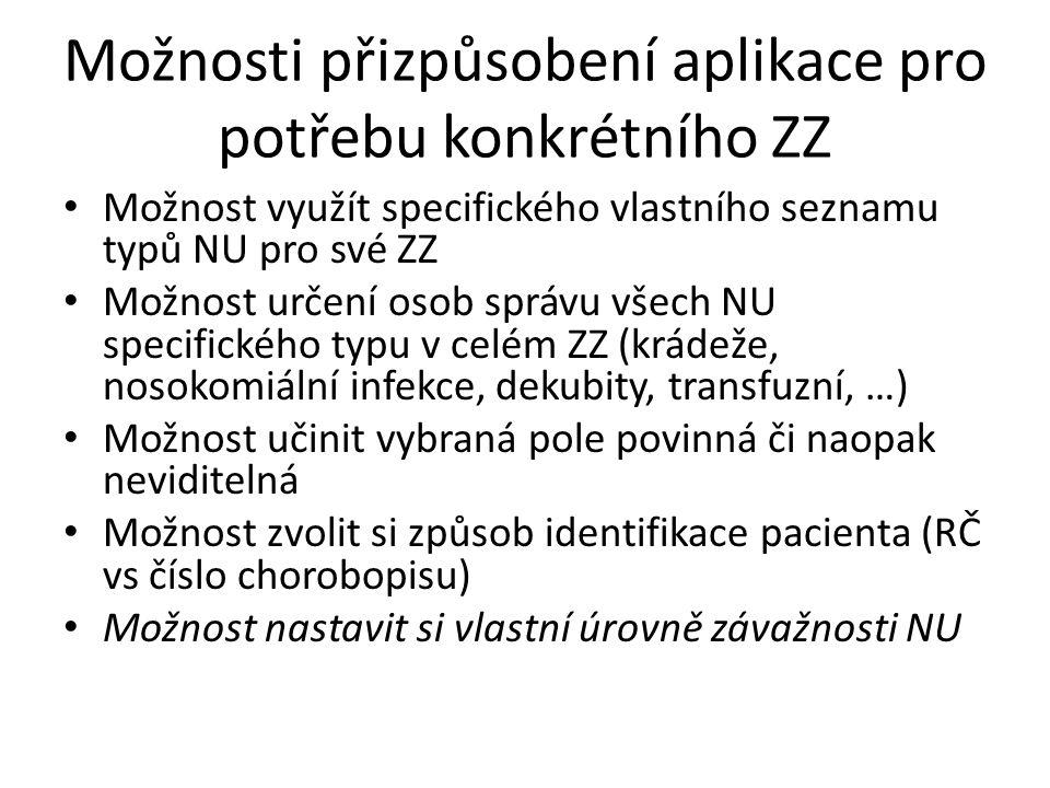 Možnosti přizpůsobení aplikace pro potřebu konkrétního ZZ