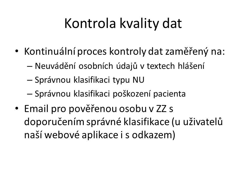 Kontrola kvality dat Kontinuální proces kontroly dat zaměřený na: