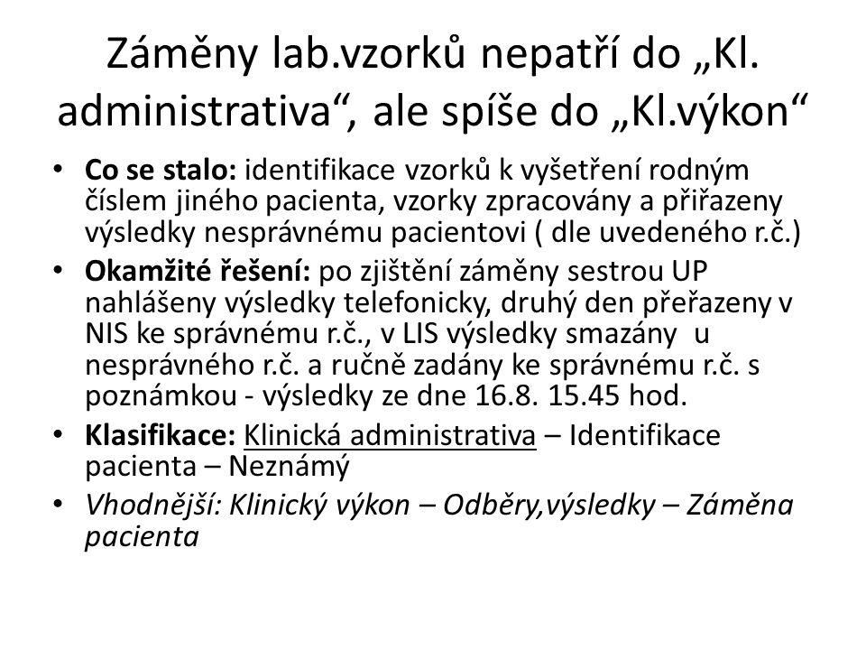 """Záměny lab. vzorků nepatří do """"Kl. administrativa , ale spíše do """"Kl"""