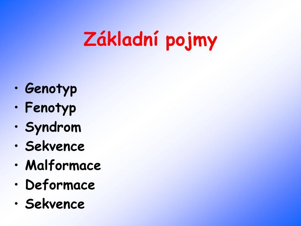 Základní pojmy Genotyp Fenotyp Syndrom Sekvence Malformace Deformace