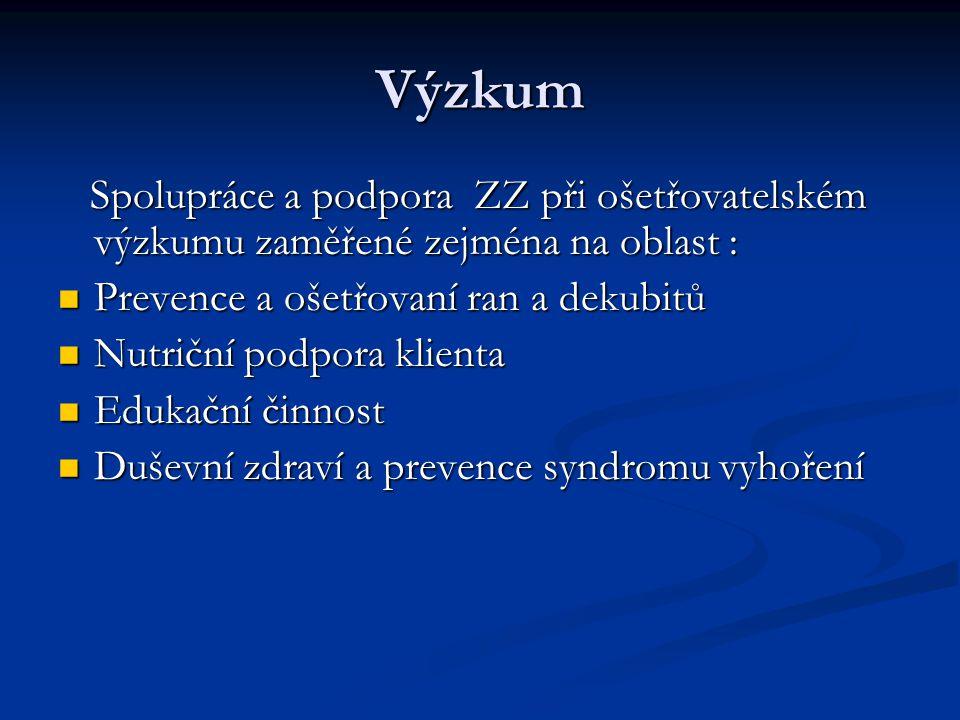 Výzkum Spolupráce a podpora ZZ při ošetřovatelském výzkumu zaměřené zejména na oblast : Prevence a ošetřovaní ran a dekubitů.