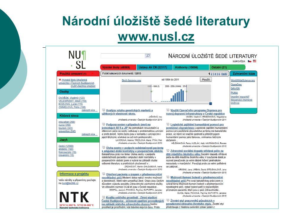 Národní úložiště šedé literatury www.nusl.cz