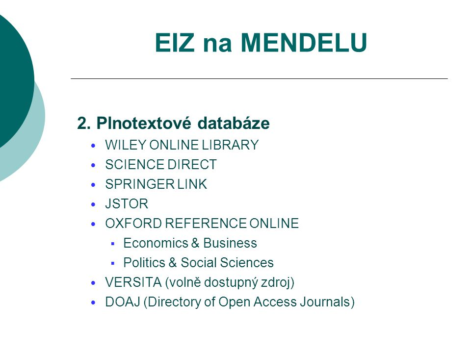 EIZ na MENDELU 2. Plnotextové databáze WILEY ONLINE LIBRARY