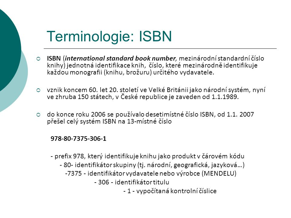 Terminologie: ISBN