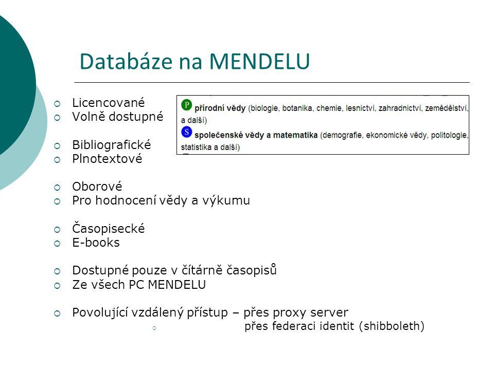 Databáze na MENDELU Licencované Volně dostupné Bibliografické