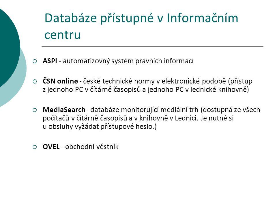 Databáze přístupné v Informačním centru