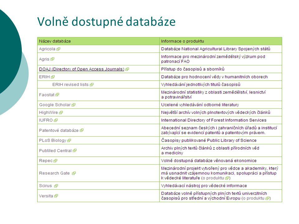 Volně dostupné databáze