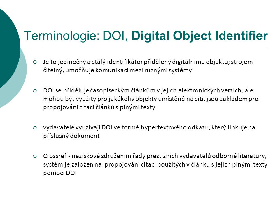 Terminologie: DOI, Digital Object Identifier