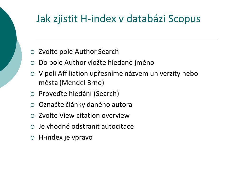 Jak zjistit H-index v databázi Scopus
