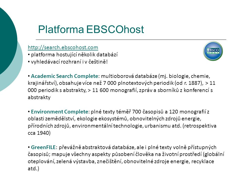 Platforma EBSCOhost http://search.ebscohost.com
