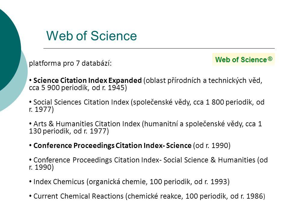 Web of Science platforma pro 7 databází: