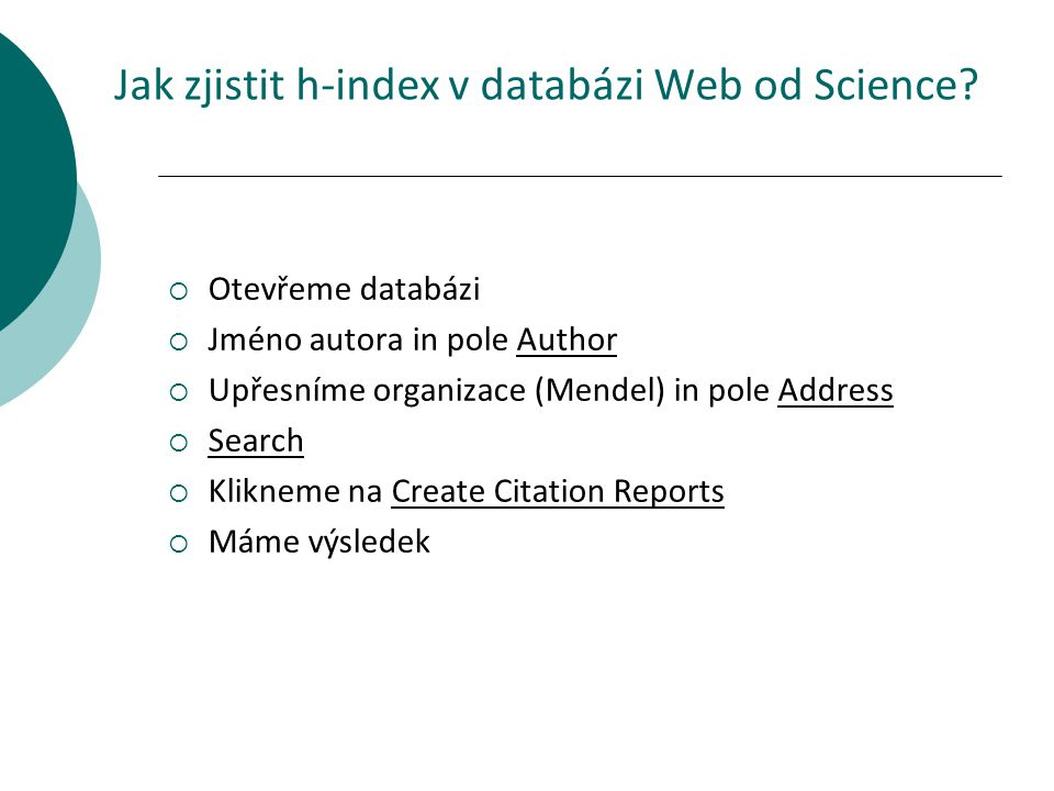 Jak zjistit h-index v databázi Web od Science