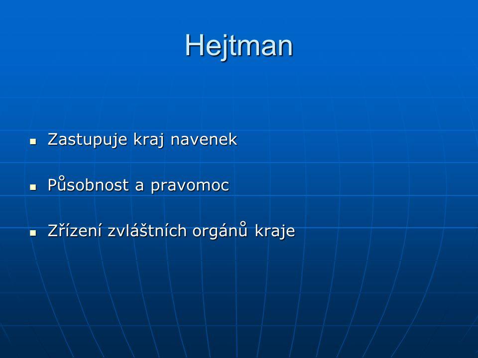 Hejtman Zastupuje kraj navenek Působnost a pravomoc