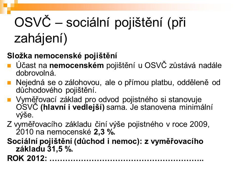 OSVČ – sociální pojištění (při zahájení)