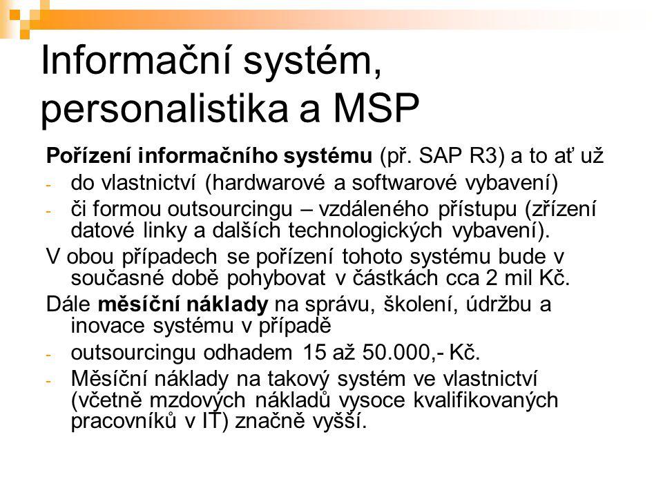 Informační systém, personalistika a MSP