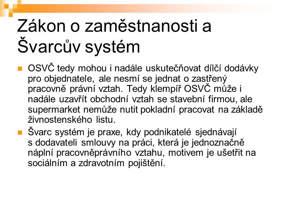 Zákon o zaměstnanosti a Švarcův systém