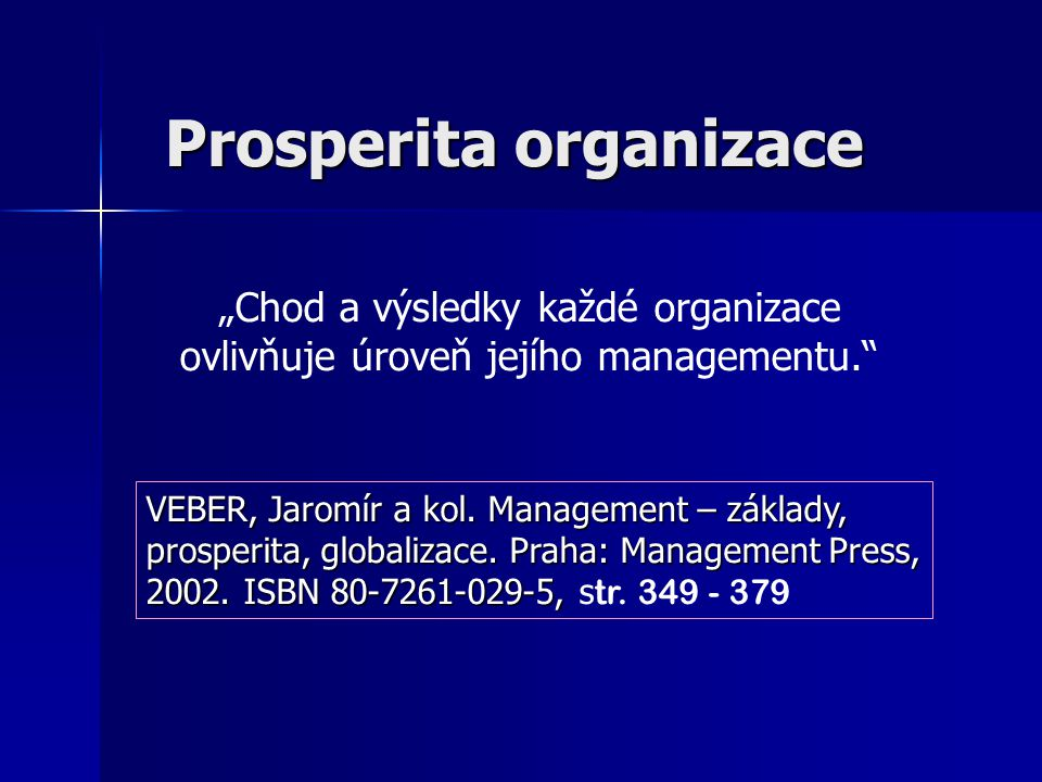 Prosperita organizace