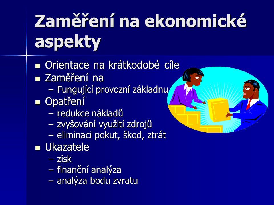 Zaměření na ekonomické aspekty