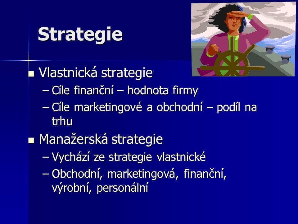 Strategie Vlastnická strategie Manažerská strategie
