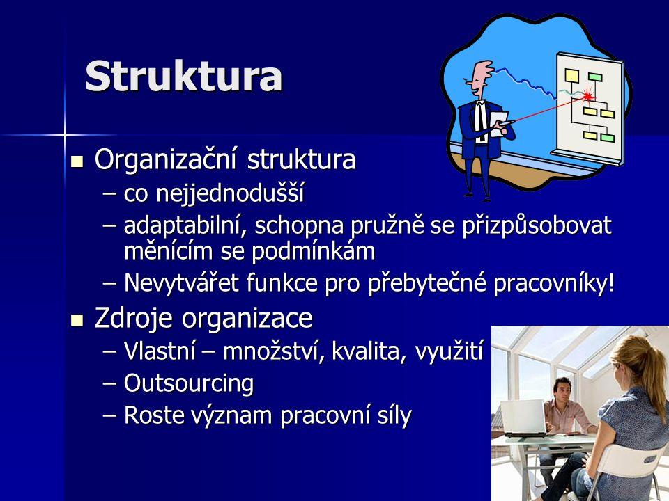 Struktura Organizační struktura Zdroje organizace co nejjednodušší