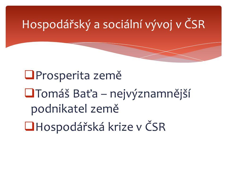 Hospodářský a sociální vývoj v ČSR