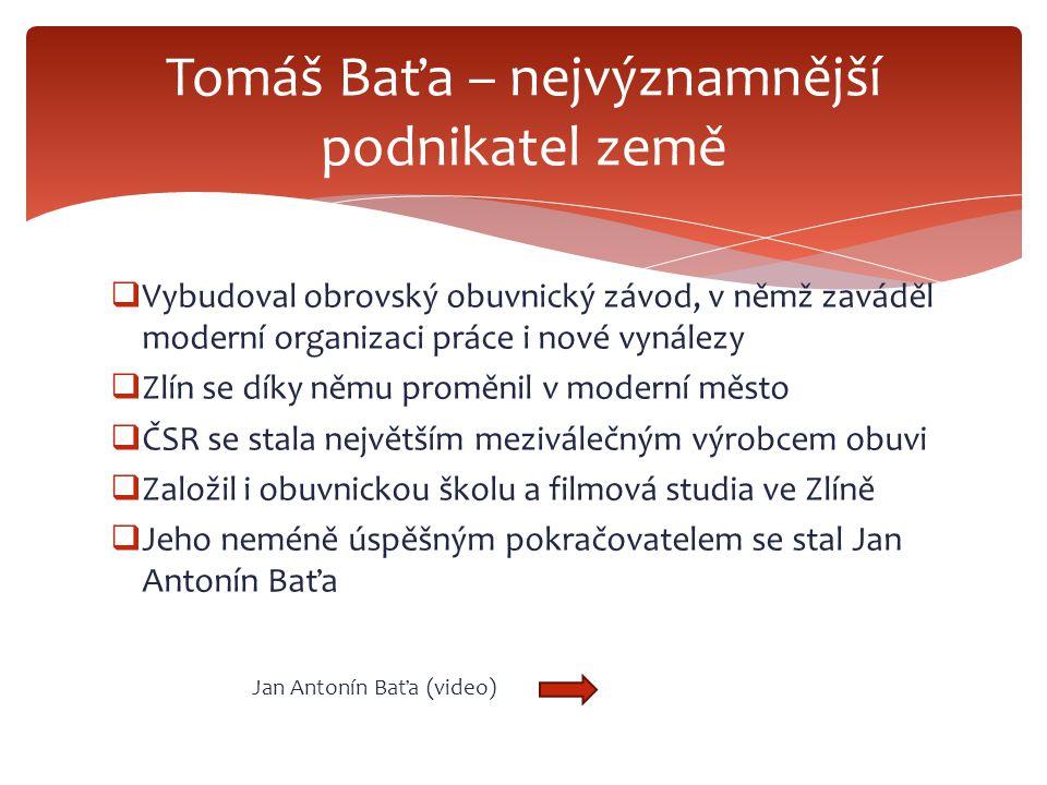 Tomáš Baťa – nejvýznamnější podnikatel země
