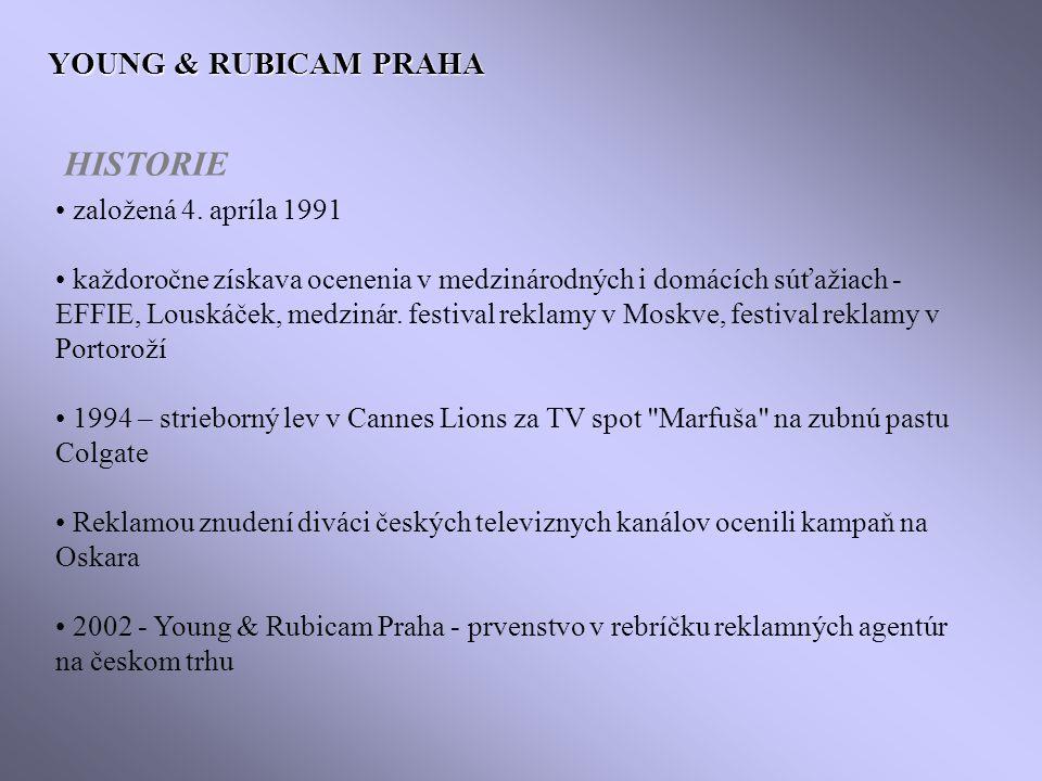 HISTORIE YOUNG & RUBICAM PRAHA založená 4. apríla 1991