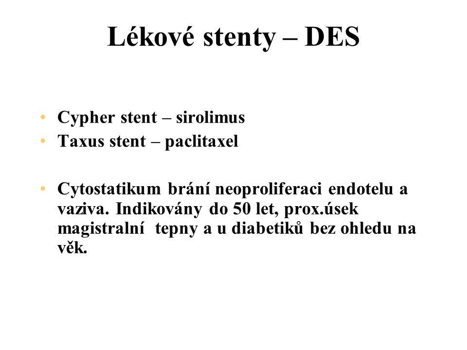 Lékové stenty – DES Cypher stent – sirolimus Taxus stent – paclitaxel
