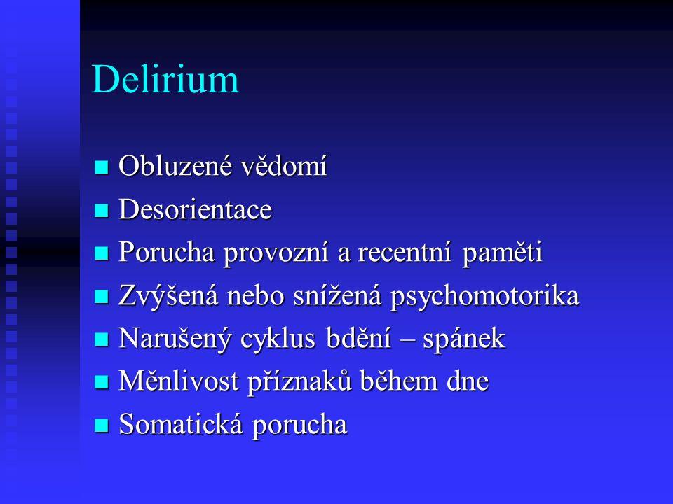 Delirium Obluzené vědomí Desorientace