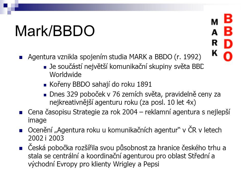 Mark/BBDO Agentura vznikla spojením studia MARK a BBDO (r. 1992)