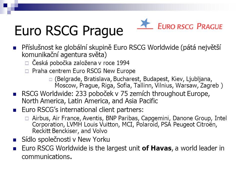 Euro RSCG Prague Příslušnost ke globální skupině Euro RSCG Worldwide (pátá největší komunikační agentura světa)