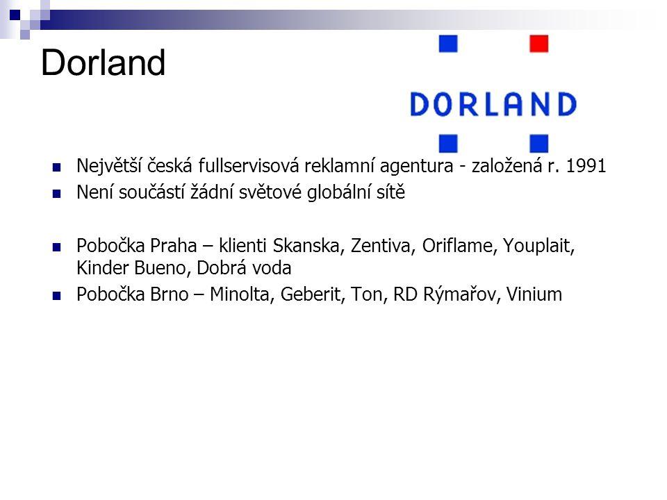 Dorland Největší česká fullservisová reklamní agentura - založená r. 1991. Není součástí žádní světové globální sítě.