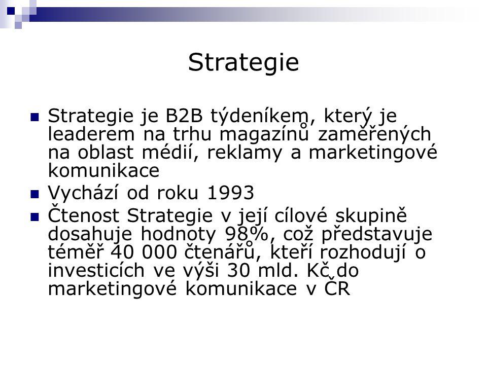 Strategie Strategie je B2B týdeníkem, který je leaderem na trhu magazínů zaměřených na oblast médií, reklamy a marketingové komunikace.