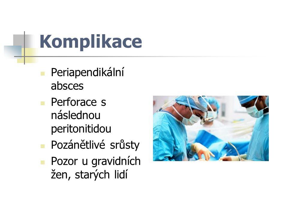 Komplikace Periapendikální absces Perforace s následnou peritonitidou