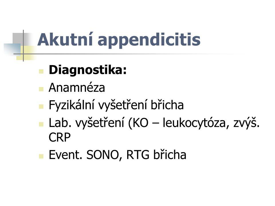 Akutní appendicitis Diagnostika: Anamnéza Fyzikální vyšetření břicha
