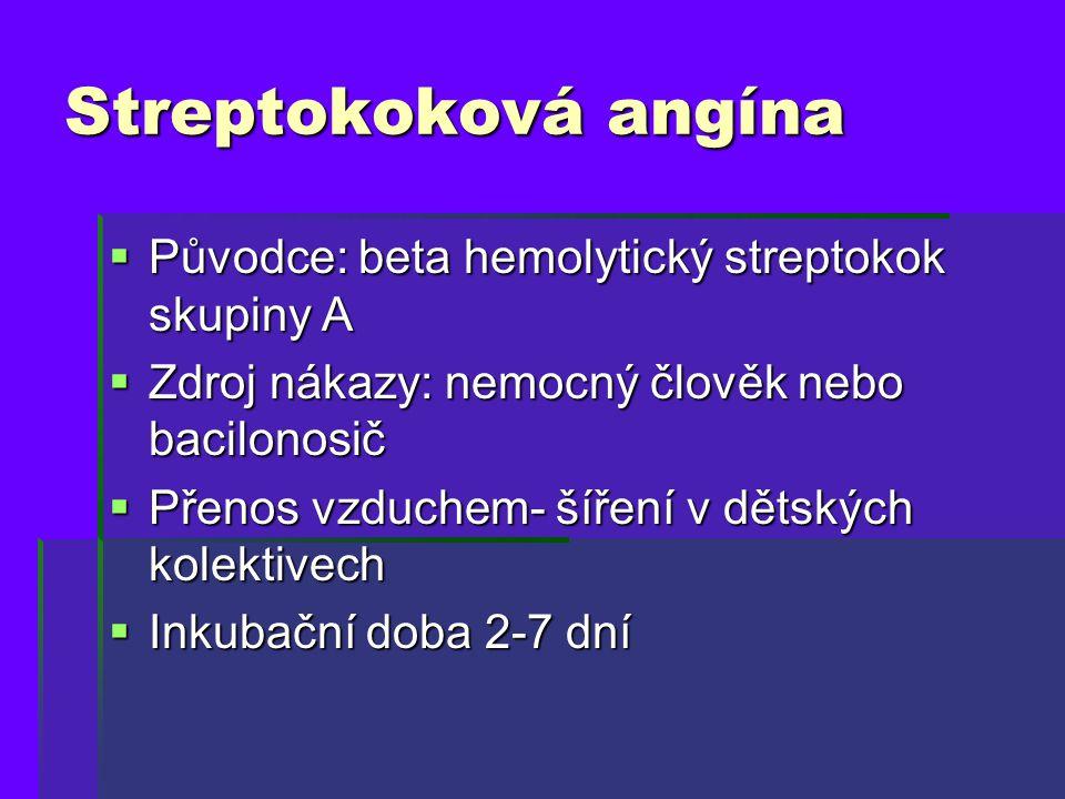 Streptokoková angína Původce: beta hemolytický streptokok skupiny A