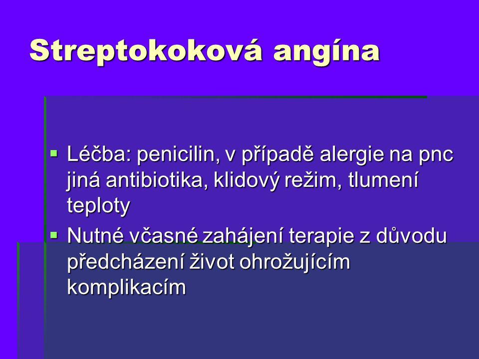 Streptokoková angína Léčba: penicilin, v případě alergie na pnc jiná antibiotika, klidový režim, tlumení teploty.