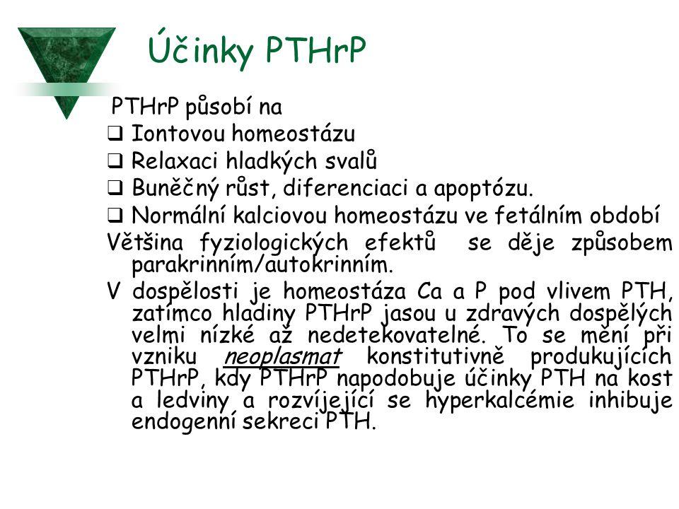 Účinky PTHrP PTHrP působí na Iontovou homeostázu