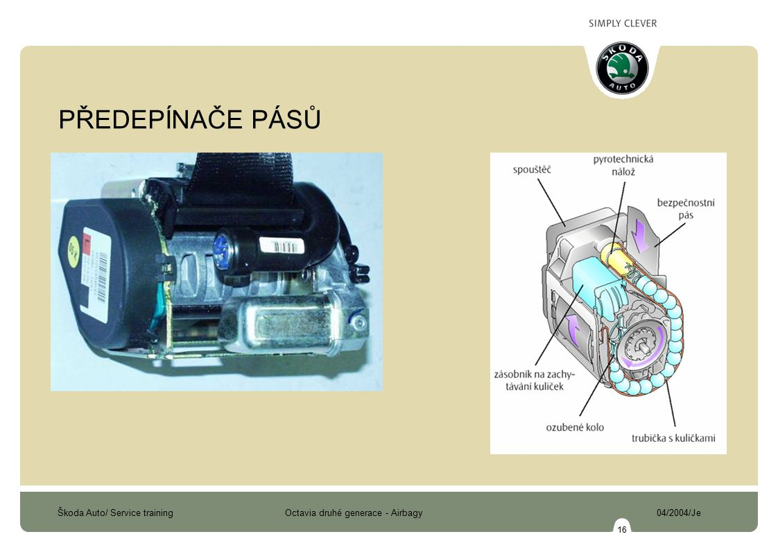 PŘEDEPÍNAČE PÁSŮ Předepínače pásů kuličkové s elektrickou aktivací z ŘJ airbagu.