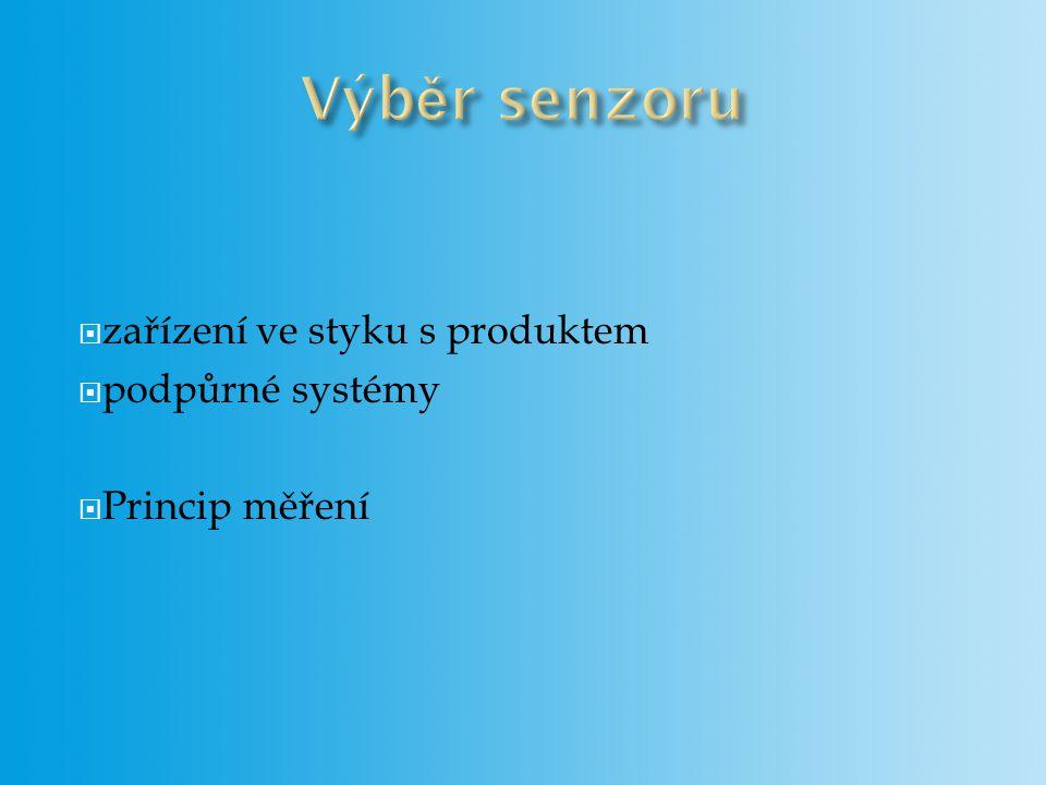 Výběr senzoru zařízení ve styku s produktem podpůrné systémy
