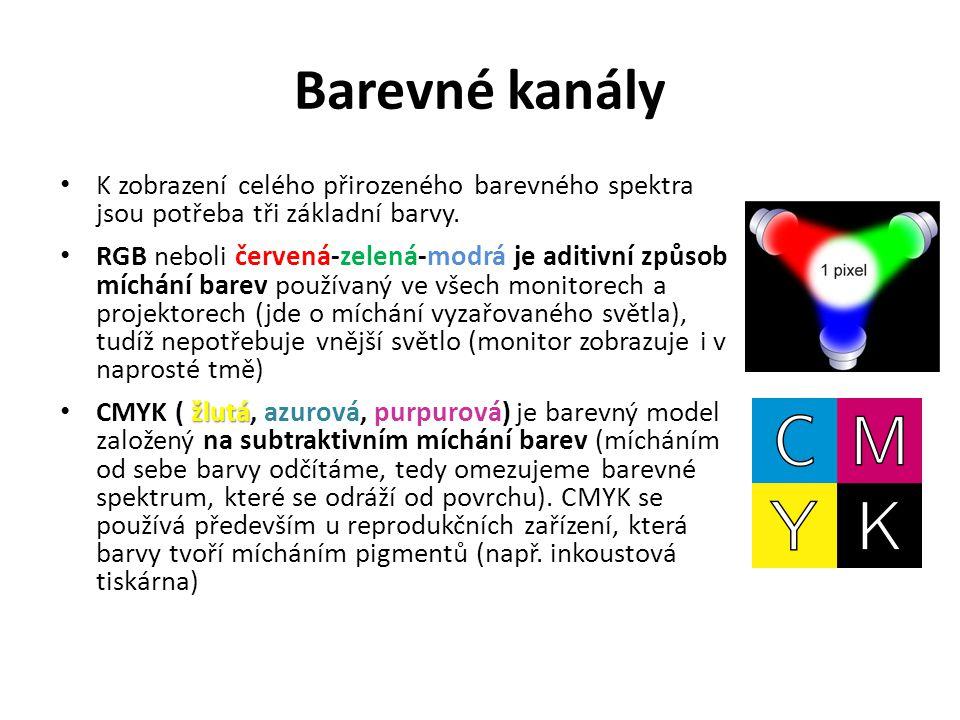 Barevné kanály K zobrazení celého přirozeného barevného spektra jsou potřeba tři základní barvy.