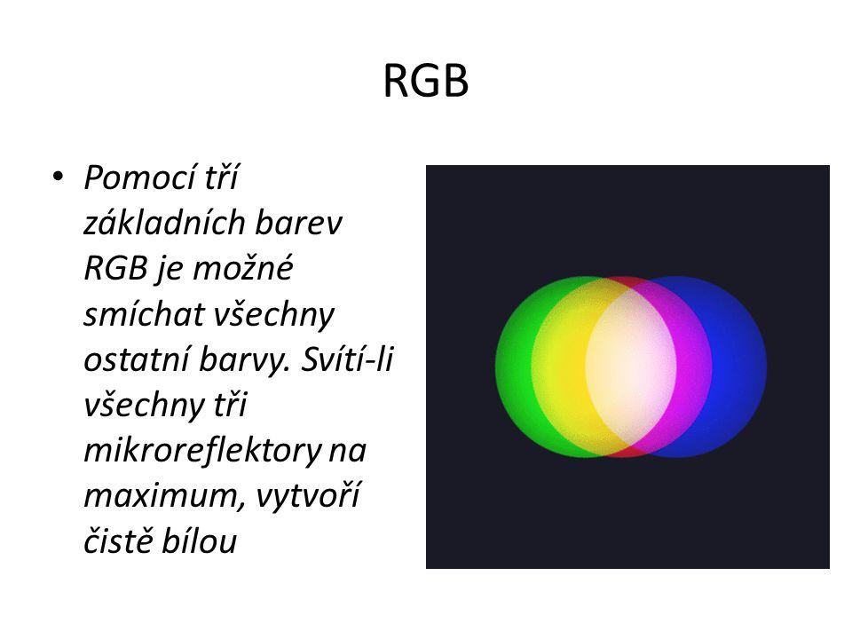 RGB Pomocí tří základních barev RGB je možné smíchat všechny ostatní barvy. Svítí-li všechny tři mikroreflektory na maximum, vytvoří čistě bílou.