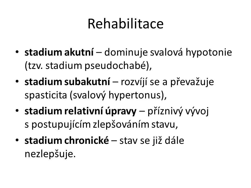 Rehabilitace stadium akutní – dominuje svalová hypotonie (tzv. stadium pseudochabé),