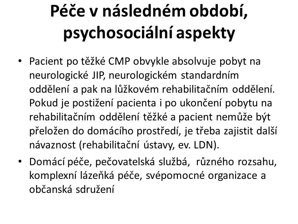Péče v následném období, psychosociální aspekty
