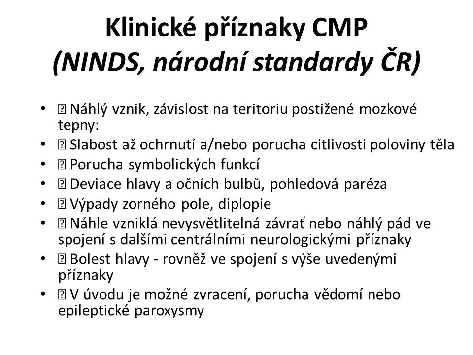 Klinické příznaky CMP (NINDS, národní standardy ČR)