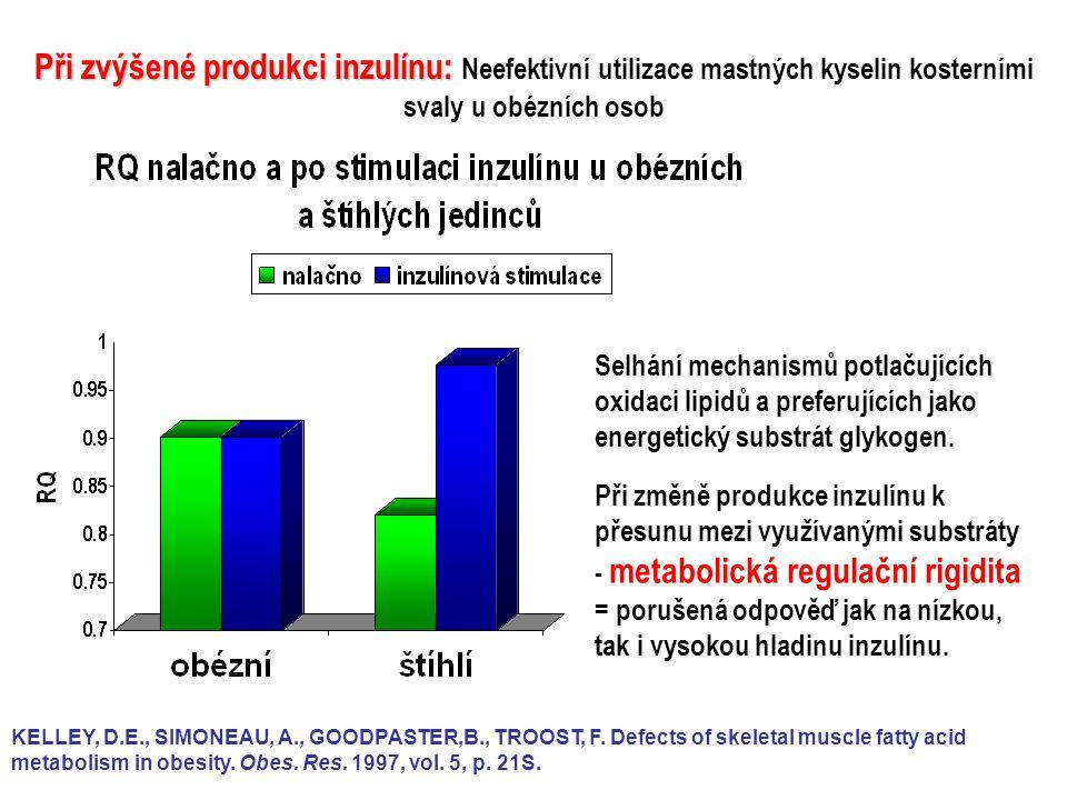 Při zvýšené produkci inzulínu: Neefektivní utilizace mastných kyselin kosterními svaly u obézních osob