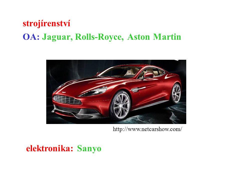 strojírenství OA: Jaguar, Rolls-Royce, Aston Martin
