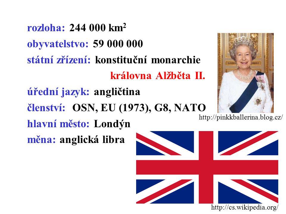 rozloha: 244 000 km2 obyvatelstvo: 59 000 000 státní zřízení: konstituční monarchie královna Alžběta II. úřední jazyk: angličtina členství: OSN, EU (1973), G8, NATO hlavní město: Londýn měna: anglická libra